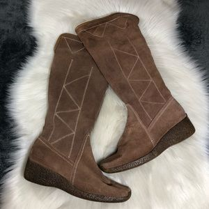 Janet D Tall Brown Boots Faux Fur Lining